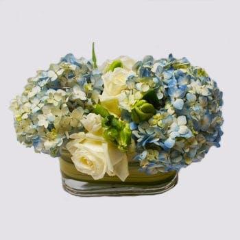 Blue Stripes Flower Arrangement | San Francisco Florist Since 1871 Free Bay Area and San Francisco Flower Delivery