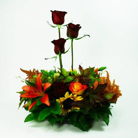 Medio Autumn Centerpiece 3 Flower Arrangement