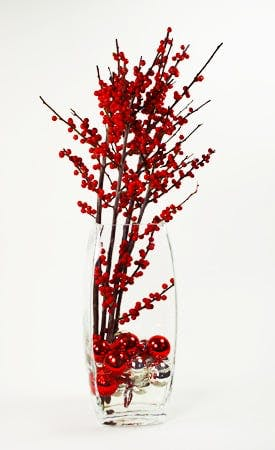 Red and Silver Flower Arrangement | San Francisco Florist Since 1871 Free Bay Area and San Francisco Flower Delivery