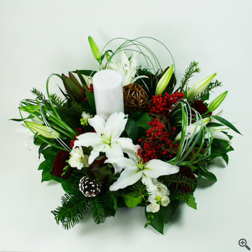 Red Pine Holiday Centerpiece with Candle