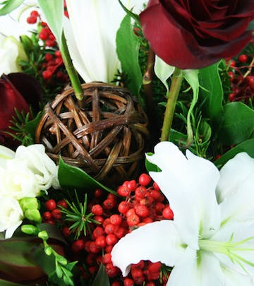 Holiday Centerpiece with Roses