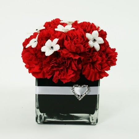 Red Heart Flower Arrangement