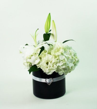 White Heart Flower Arrangement