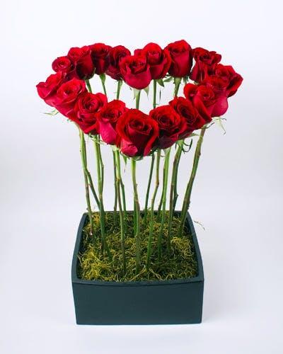 Tall Heart Flower Arrangement