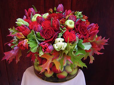 Garnet and Celadon Flower Arrangement | San Francisco Florist Since 1871 Free Bay Area and San Francisco Flower Delivery