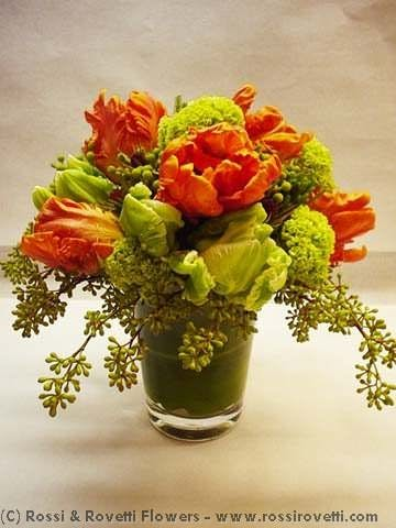 Orange Parrot Tulips Flower Arrangement