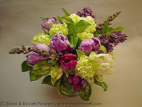 Purple Parrot Tulips and Lilac Flower Arrangement