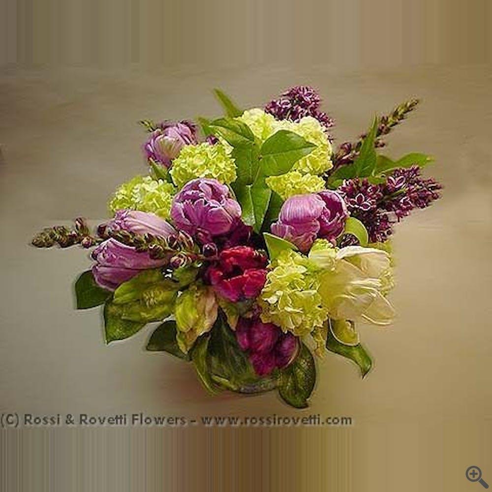 Purple Parrot Tulips and Lilac Flower Arrangement