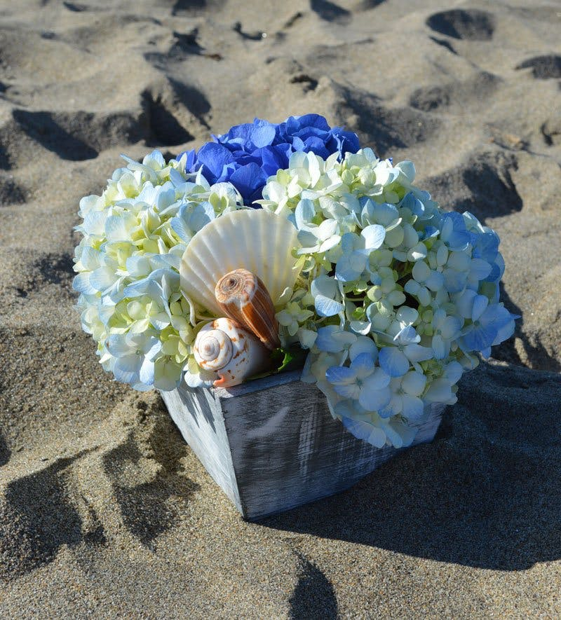 Seashells By the Shore Flower Arrangement | San Francisco Florist Since 1871 Free Bay Area and San Francisco Flower Delivery