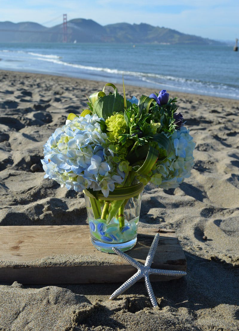 Beach Blues Flower Arrangement | San Francisco Florist Since 1871 Free Bay Area and San Francisco Flower Delivery