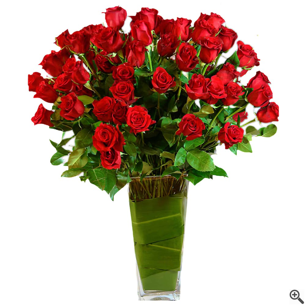 A Beauty of 100 Vased Long-Stemmed Red Roses