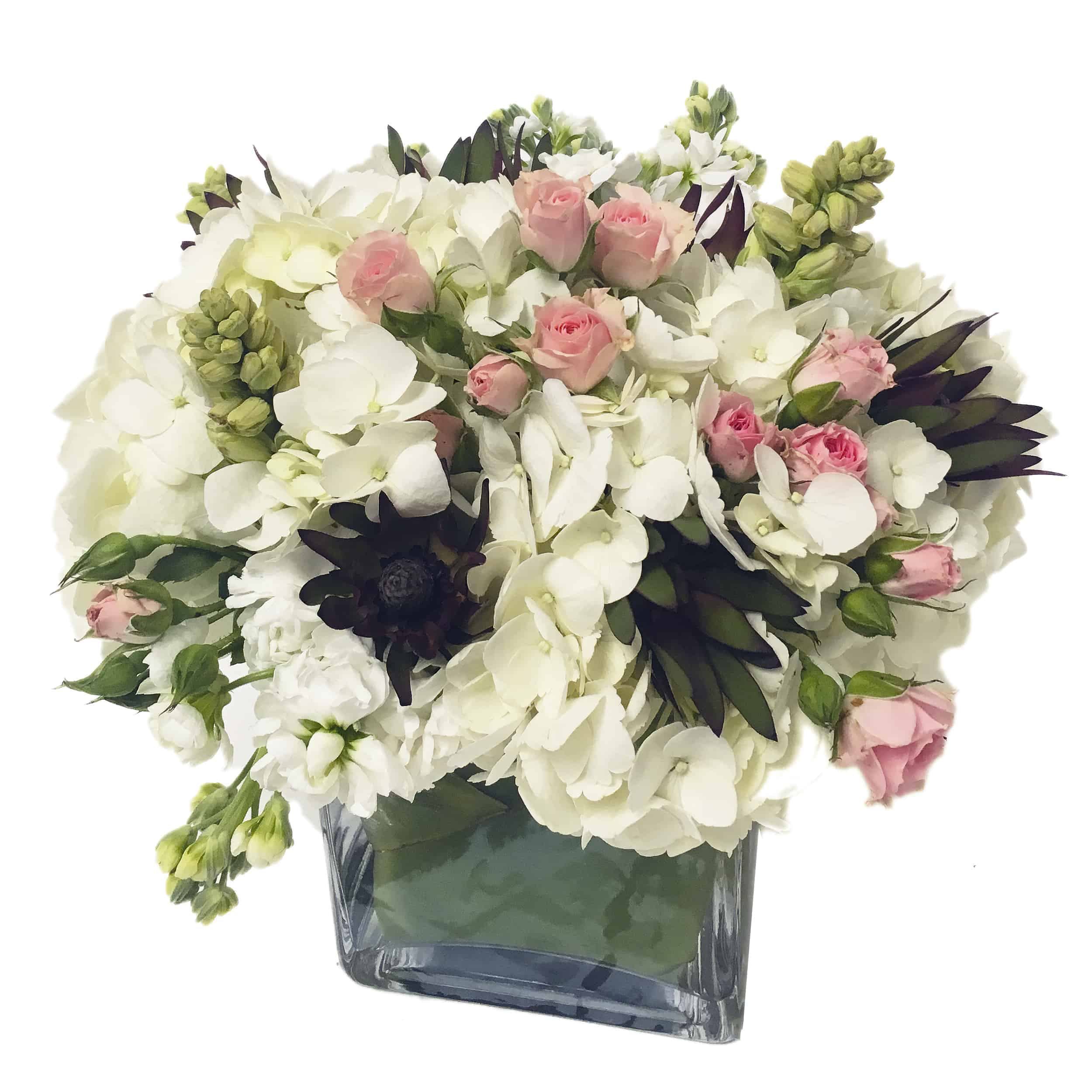 Celadon and Salmon Flower Arrangement | San Francisco Florist Since 1871 Free Bay Area and San Francisco Flower Delivery