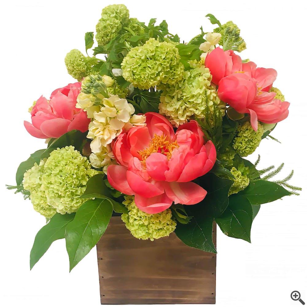 Boxed Peonies Flower Arrangement