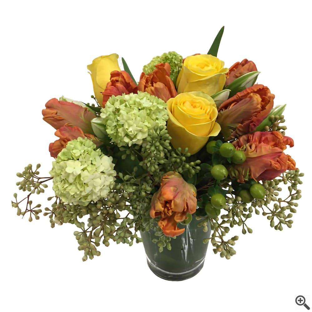 Orange Parrot Tulips Flower Arrangement