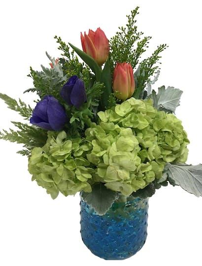 Bits of Blue Flower Arrangement | San Francisco Florist Since 1871 Free Bay Area and San Francisco Flower Delivery