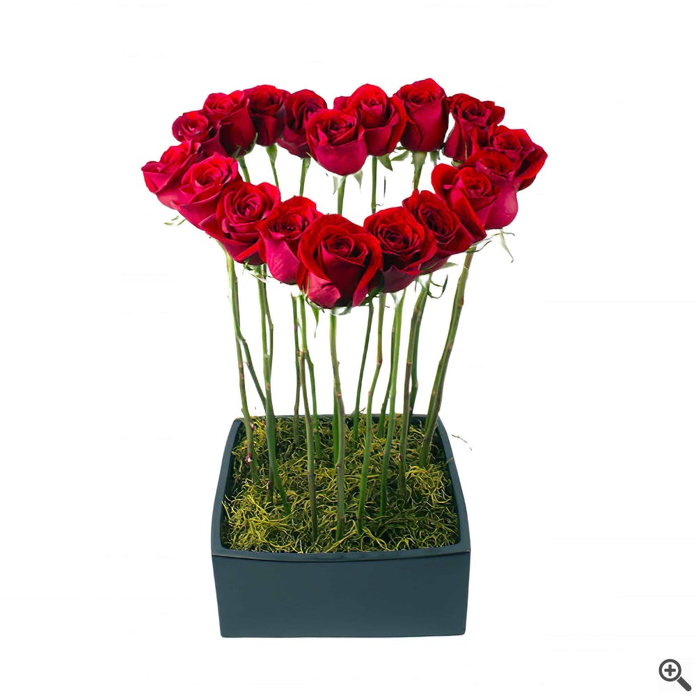 Tall Heart Flower Arrangement