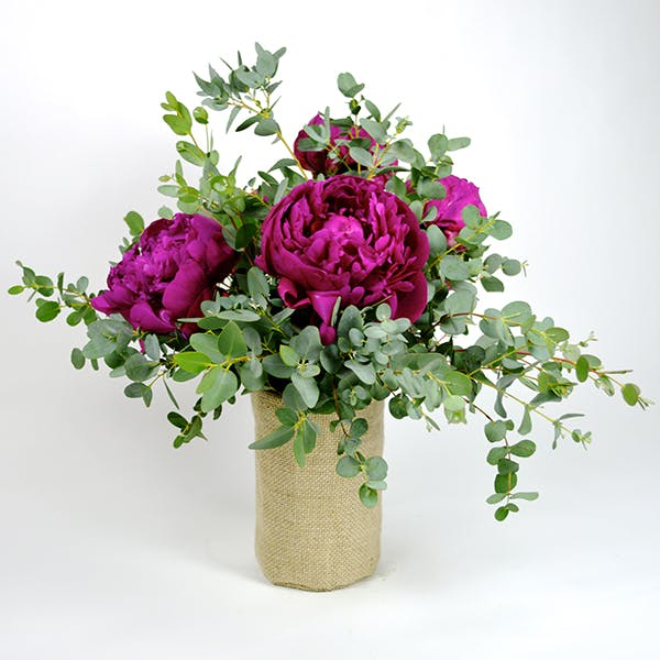 Eucalyptus Peony Flower Arrangement | San Francisco Florist Since 1871 Free Bay Area and San Francisco Flower Delivery