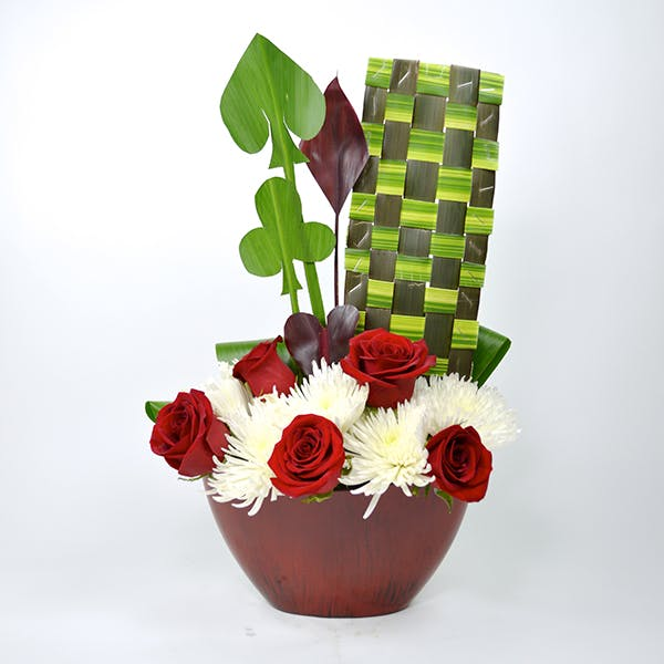 Checkered Card Flower Arrangement