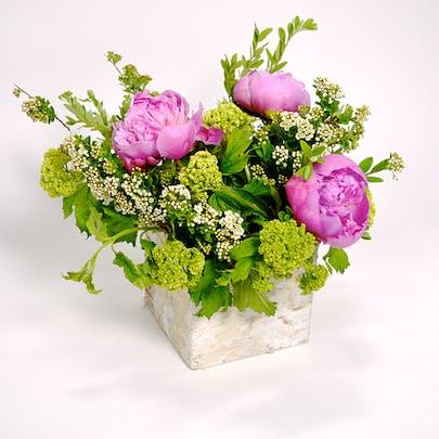 Birch Box Peonies Flower Arrangement