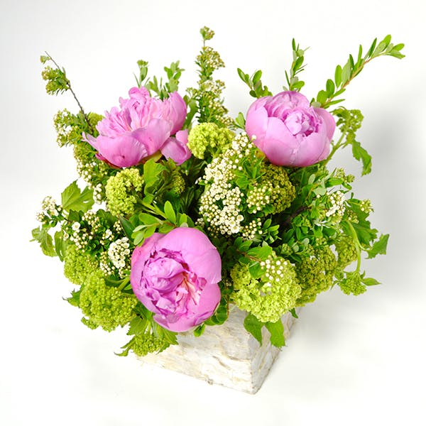 Birch Box Peonies Flower Arrangement