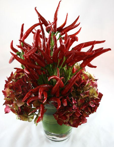 Red Hot! Chili Pepper Flower Arrangement