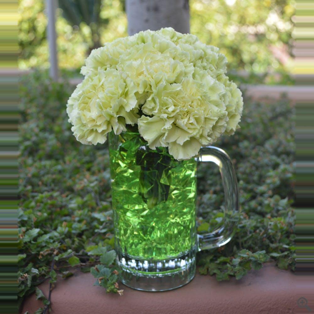 Green Beer Flower Arrangement