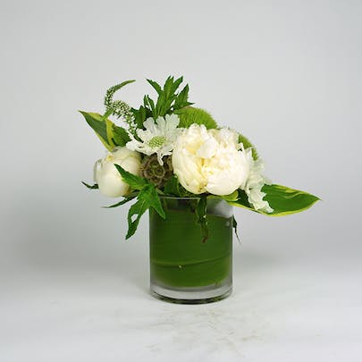 White and Green Peony Flower Arrangement